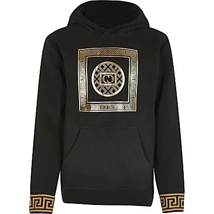 Boys Criminal Damage black printed hoodie