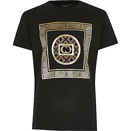 Boys Criminal Damage black printed T-shirt