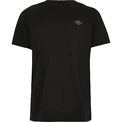 Boys black RIR badge T-shirt