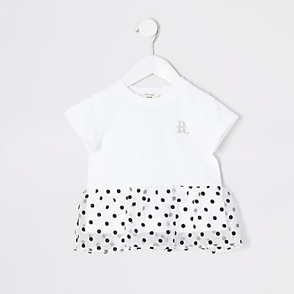 Mini girls white polka dot organza peplum top