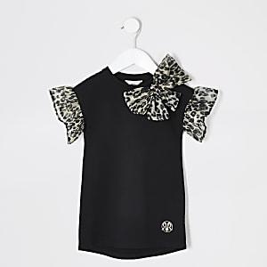 Mini – Schwarzes T-Shirt-Kleid mit Organza-Ärmeln