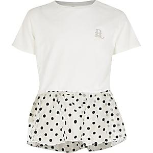 Wit T-shirt met organza peplum met stippen voor meisjes