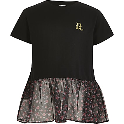 Girls black floral organza peplum T-shirt