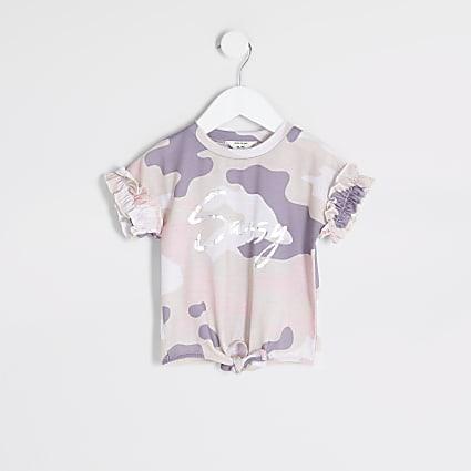 Mini girls beige camo 'Sassy' T-shirt
