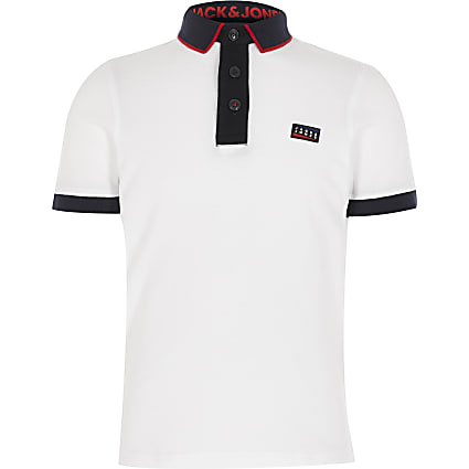 Boys Jack and Jones white blocked polo shirt