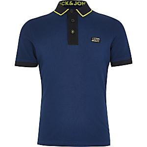Jack and Jones - Marineblauw poloshirt met kleurvlakken voor jongens
