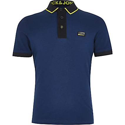 Boys Jack and Jones navy block polo top