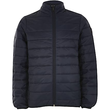 Boys Jack and Jones navy puffer coat