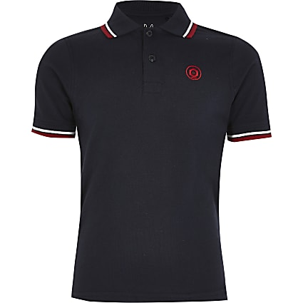 Boys Jack and Jones navy polo top