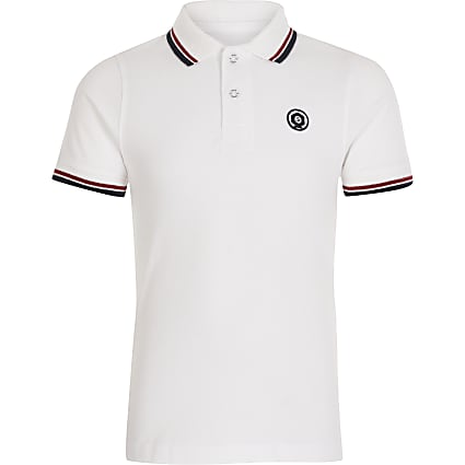 Boys Jack and Jones white polo top