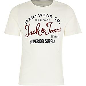 Jack and Jones – T-shirt à logo écru pour garçon