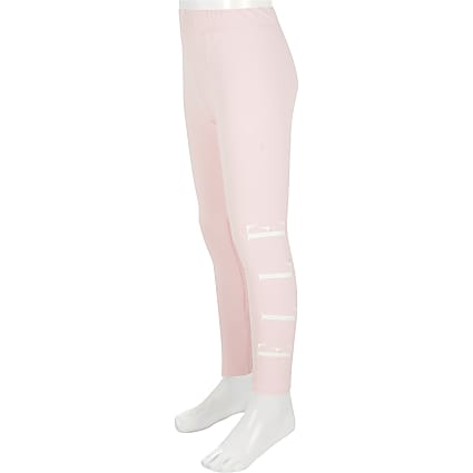 Girls ELLE pink glitter logo leggings