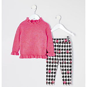 Tenue avec pull en maille rose vif Mini fille