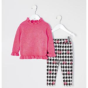 Mini - Felroze outfit met gebreide trui voor meisjes