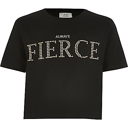 Girls black 'Always fierce' studded T-shirt