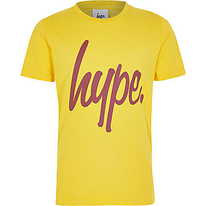 Boys Hype yellow printed T-shirt
