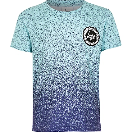 Boys Hype blue speckle printed T-shirt