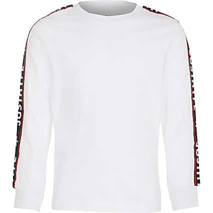 Boys Hype white long sleeve T-shirt