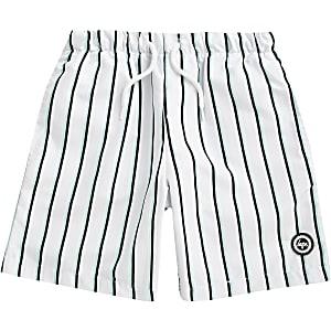 Boys Hype white stripe swim shorts