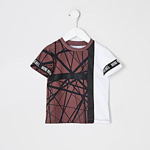 Mini - Kastanjebruin T-shirt met bies en print voor jongens