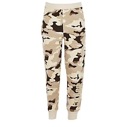 Girls brown camo 'Fierce' print joggers