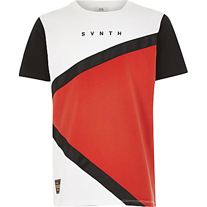 Boys red SVNTH blocked tape T-shirt