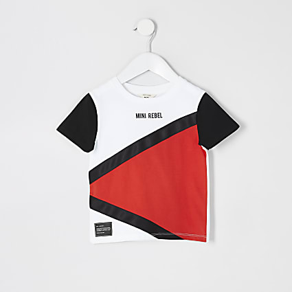 Mini boys red SVNTH blocked tape T-shirt