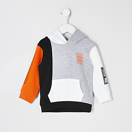 Mini boys grey printed colour blocked hoodie