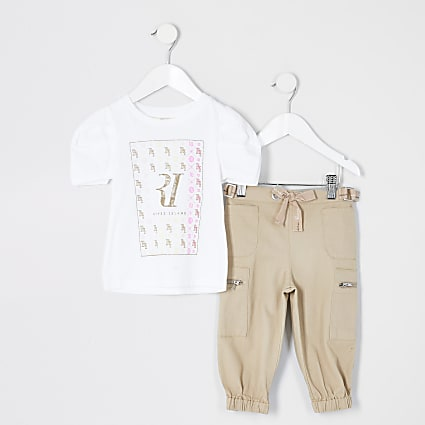 Mini girls white printed T-shirt outfit