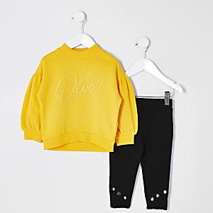 Mini - Gele sweater outfit met 'Mini diva'-tekst voor meisjes