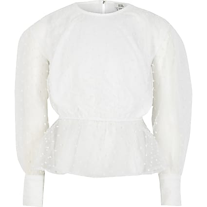 Girls white organza puff sleeve peplum top