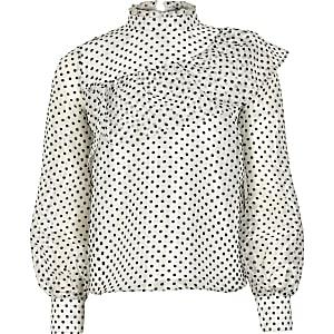 Witte organza blouse met stippen voor meisjes