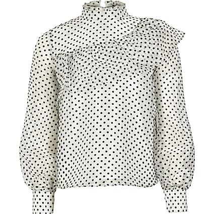 Girls white polka dot organza blouse