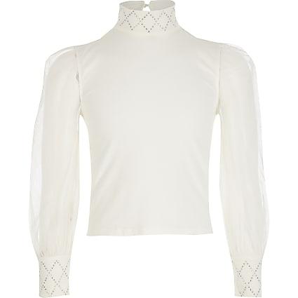 Girls cream mesh sleeve diamante top