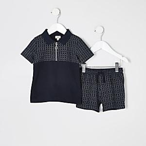 Mini boys navy textured half zip polo outfit