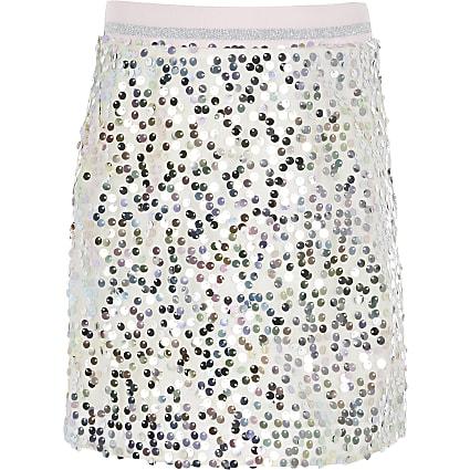 Girls silver sequin A line skirt
