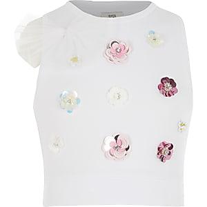 Girls white embellished cropped top
