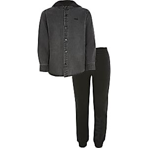Tenue avec chemise RVR en denim noirà capuche pour garçon