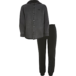 Zwarte RVR outfit met denim overhemd met capuchon voor jongens