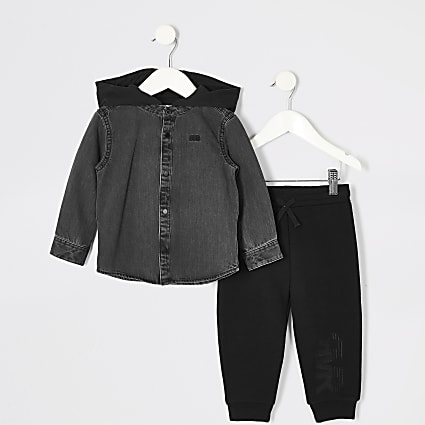Mini boys black hooded denim shirt outfit