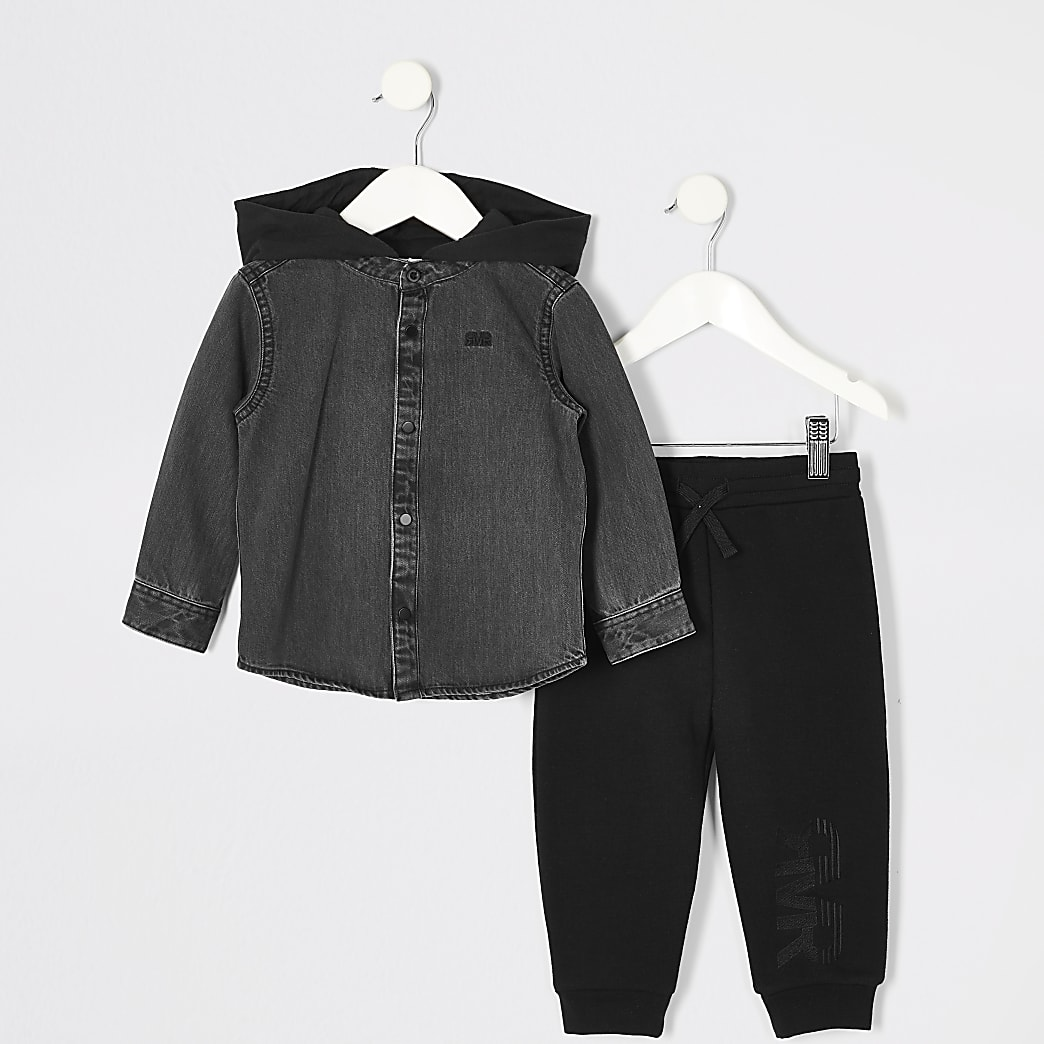 Mini boys black hooded denim shirt outfit
