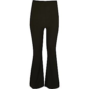 Girls black ribbed kickflare trousers