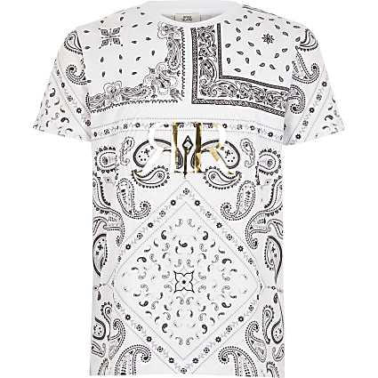 Boys white paisley RI embossed T-shirt