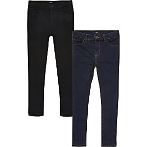 Ollie – Schwarze Skinny Jeans für Jungen, 2er-Pack