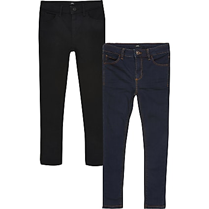 Boys black Ollie skinny jeans 2 pack