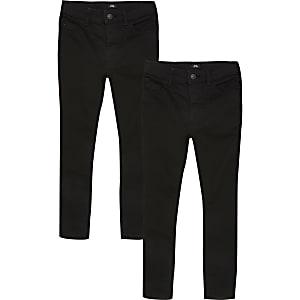 Sid – Schwarze Skinny Jeans für Jungen, 2er-Set