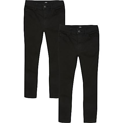 Boys black Sid skinny jeans 2 pack
