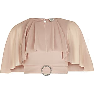 Girls pink mesh cape cropped top