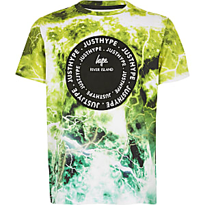 RI x Hype – T-shirt imprimé vert pour garçon