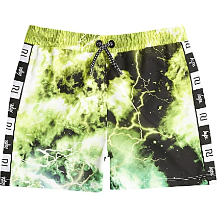 Boys RI x Hype green tie dye swim shorts